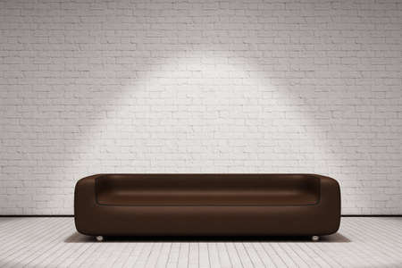 divan: Sofá de cuero de Brown delante de la pared blanca y suelo de madera