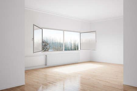 convective: Empty winter room with large central heating device Stock Photo