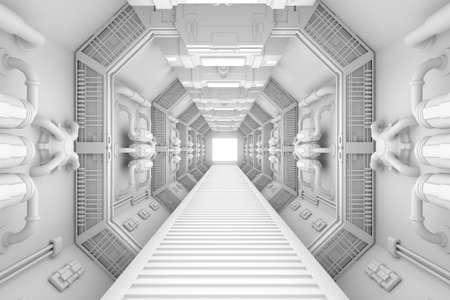亮白色的質地飛船內部中心視圖 版權商用圖片