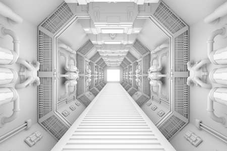 Spaceship interior center view with bright white texture photo