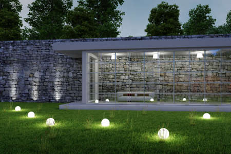 Garden architecture by night with glowing spheres in gras