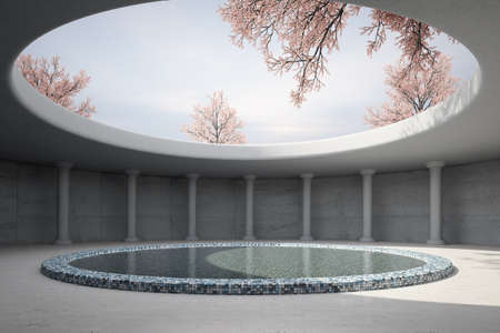 Architectual concept with spring and round roof photo