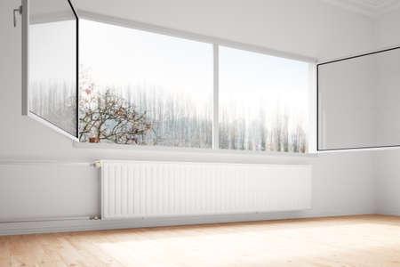 effizient: Zentralheizung Angeh�ngte an Wand mit offenen Fenstern