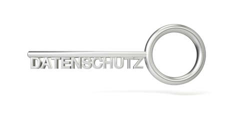 securing: Key concept Datenschutz with white background and shadows