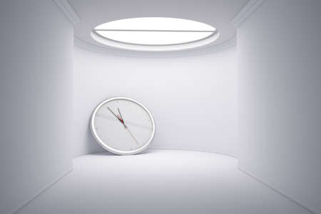 confined space: Time concept with big clock leaning on wall