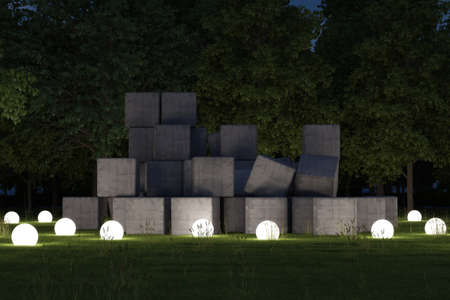 architectural lighting design: Concrete blocks at night with luminous spheres Stock Photo
