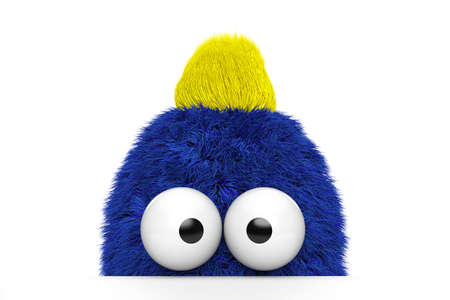 critters: Funny blue fur guy with yellow hair on white background