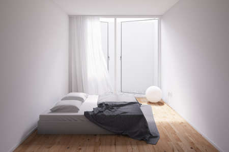 uncarpeted: Minimal Room with gravel outside and blue blanket Stock Photo