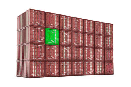 exceptional: Stack of ship containers with single green container