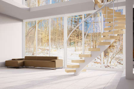 render residence: Winter Loft with wooden spiral stairs and winter view