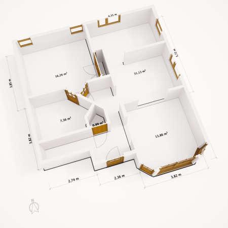 interior layout: 3D groundplan with walls on white ground