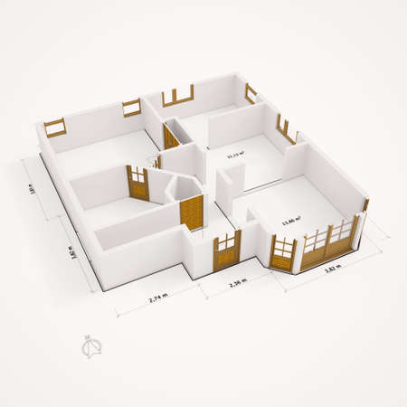 3d bungalow: 3D groundplan with walls on white ground