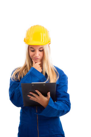 structural engineers: Female engineer with check list isolated on white