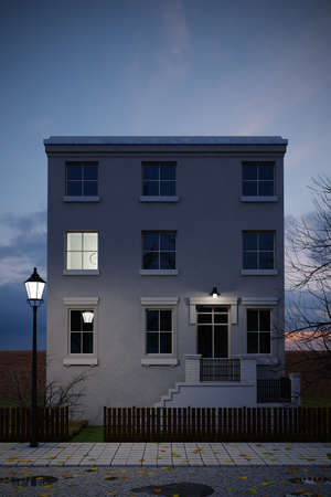 abode: Building in dusk with sidewalk and leafs