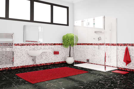 Bathroom in red, white and black as color concept photo