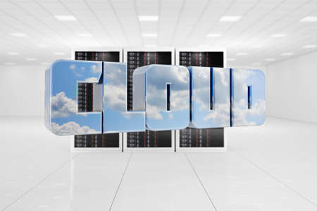 datacentre: Cloud Computing data center with letters flying