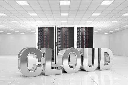 rechenzentrum: Data Center mit Chrom Cloud Text vor den Servern Lizenzfreie Bilder