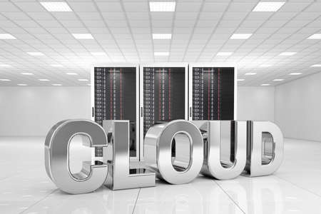 server farm: Data Center with chrome cloud text in front of the servers Stock Photo