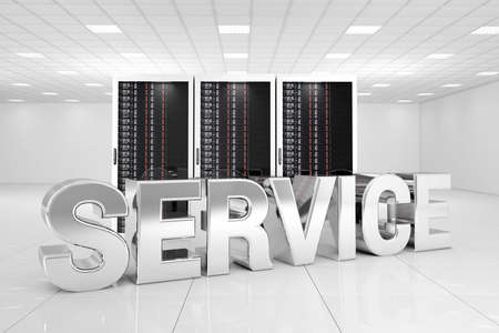 Data Center with chrome service text in front of the servers photo