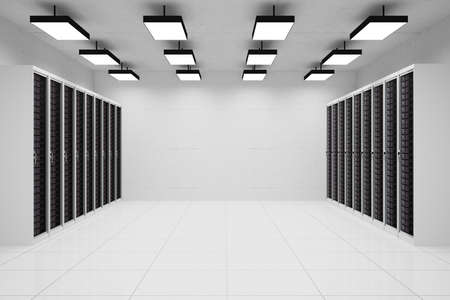 datacentre: Datacenter with copyspace and hanging lamps and concrete wall