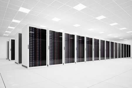 data center: Data Center with long row of servers angular view