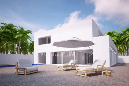 Pool mit Haus und Palmen und blauem Himmel