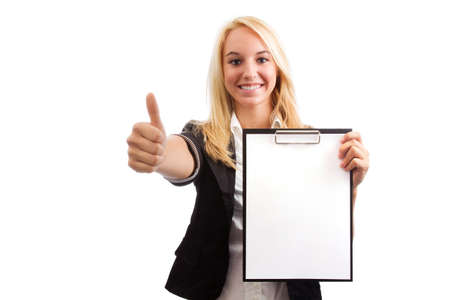 entrepeneur: Young woman with checklist and thumb up isolated on white Stock Photo