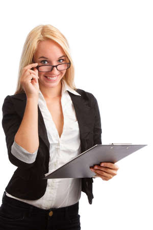 entrepeneur: Young woman with checklist and glasses isolated on white