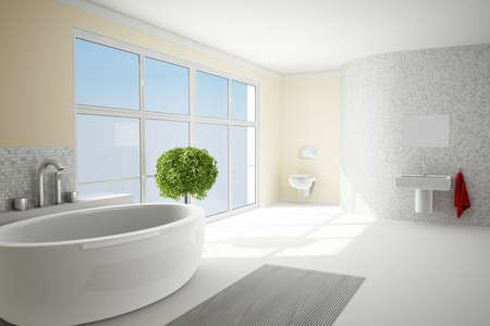 Bathromm in sunshine with white tiles and little tree Stock Photo - 18662118