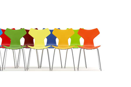 Chairs with color concept on white background Stock Photo - 18873639