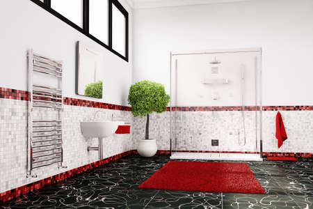 Bathroom in red, white and black as color concept Stock Photo - 18918273