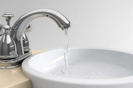 Sink with watersplash on grey background with gradient Stock Photo