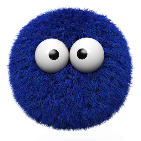 Blue furr ball with eyes isolated on white background