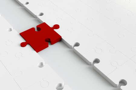 Rode puzzel pease als een brug naar witte delen