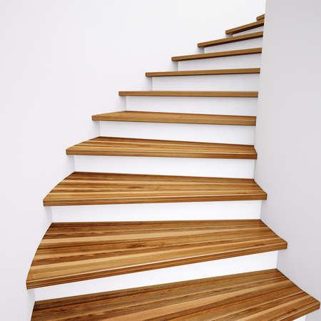 escalera: Escaleras de madera y paredes blancas que conducen Foto de archivo