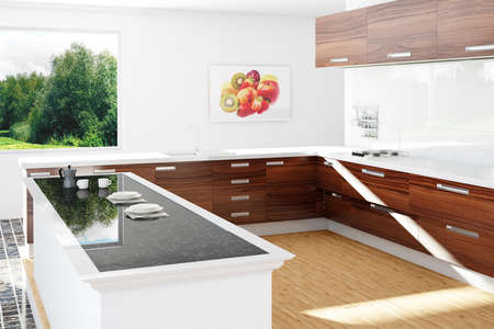 worktops: Kitchen in the sun and wooden floor