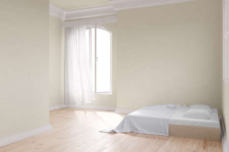 Yellow room with bed and window with wooden floor Stock Photo