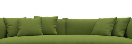 Sofa made of green fabric closeup panorama on white background photo