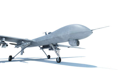 Military Drone on the ground Stock Photo