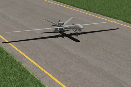 payload: Military Drone starting on the runway Stock Photo