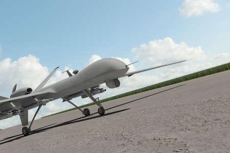 Militär Drone stehend auf der Startbahn
