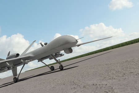 payload: Military Drone standing on the runway