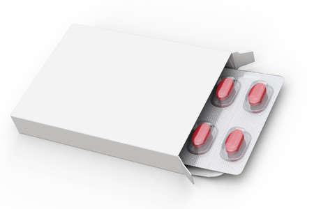 Cuadro en blanco de las píldoras rojas sobre fondo blanco Foto de archivo