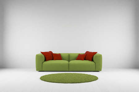 Green sofa with carpet in grey room photo
