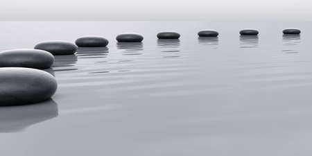 recedes: Row of stones leading to the horizont with water surface