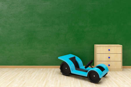 Green wall with toy car and copy space wooden floor Stock Photo - 19250872