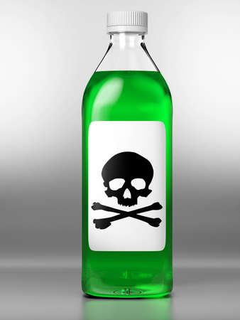 poison bottle: Green bottle with poison on grey background Stock Photo