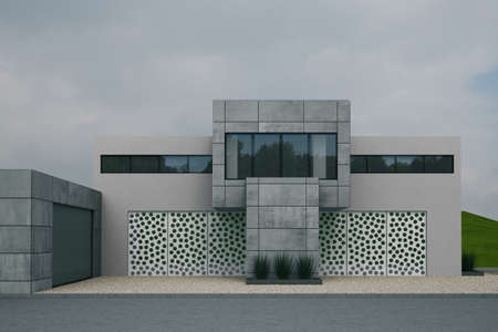 blocky: Concrete Buidling with dull sky abd gravel in front
