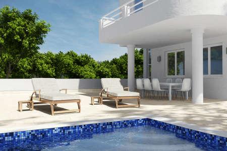Schwimmbad Szenario mit blauem Himmel und Sitze