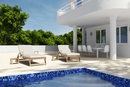 swimming pool home: Swimming pool scenario with blue sky and seats Stock Photo